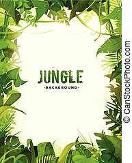 Jungle Tropical Leaves Background - Illustration of a jungle...