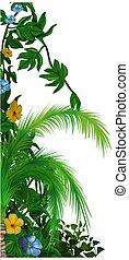 Jungle vegetation 1 - tropical plants as hand drawn...