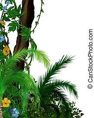 Jungle vegetation 2 - tropical plants as hand drawn...