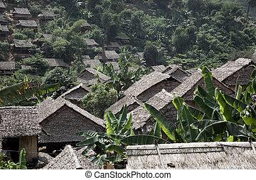 Jungle village - Refugee village on Burma - Thailand border.