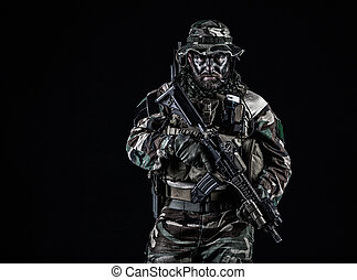 Jungle warfare unit - Bearded Special forces United States...