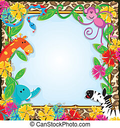 Jungle Zoo Party Invitation - Bright and colorful jungle...