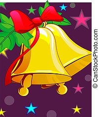 Jungles bell with ribbon and stars