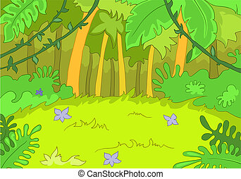 Jungley Glade. Cartoon Background. Vector Illustration EPS...