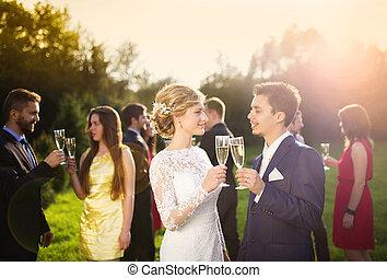 jungvermählten, und, hochzeit gäste, clinking brille