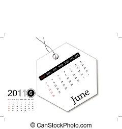 juni, van, 2011, kalender