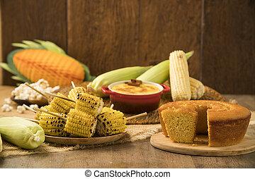 junina, élelmiszer, gabonaszem, brazíliai, grillezett, asztal, jellegzetes