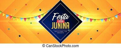junina, célébration, bannière, festa, fetes