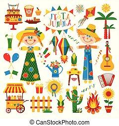 junina, estilo, latín, festa, iconos, fiesta, decoration., ...