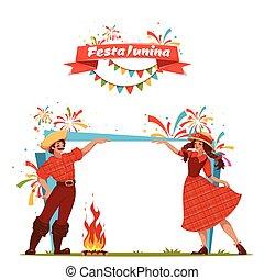 junina, festa, banner., ilustración, vector, brasileño, ...