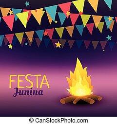 junina, festa, ilustração, celebração
