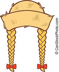 junina, mujer, festa, paja, -, trenzas, pelo, diseño, sombrero
