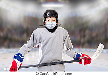 Junior Boy Ice Hockey Player Wearing Face Mask in New Normal After Covid-19