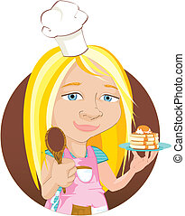 Spot illustration of a child wearing a chef's hat and apron and holding a plate of home made pancakes.