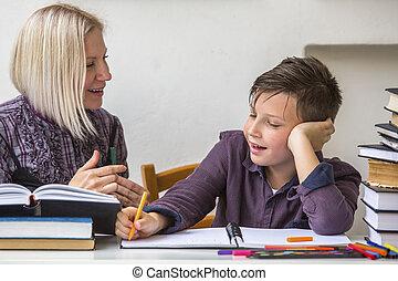 junior, devoirs, tutor., étudiant, sien, aide