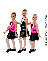 Junior Girls Tap Dance Group - Three Young Girls in Junior...
