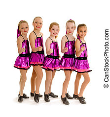 5 Young Girls in Recital Competition Tap Costumes