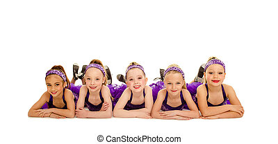 A Group of Junior Petite Tap Dancer Kids in Recital Costume