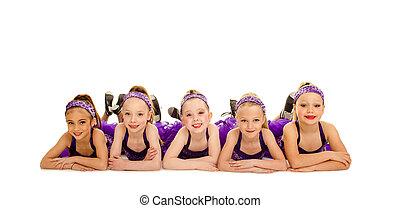 Junior Petite Tap Dance Kids Group - A Group of Junior...