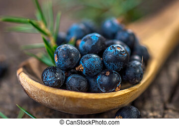 Juniper berries on old wooden table