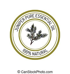 juniper, essential oil label, aromatic plant
