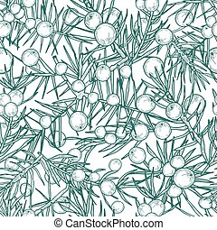Juniper seamless pattern. Detailed hand drawn branches with berries. Contour hand drawn illustration.