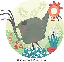 Junk Art Garden Design Illustration