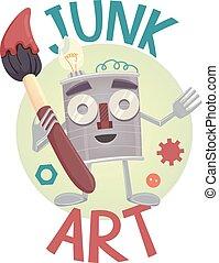 Junk Art Mascot Illustration - Illustration of a Tin Can...
