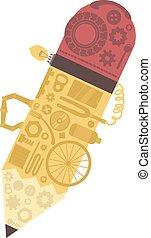 Junk Art Pencil Illustration - Illustration of an Abstract...