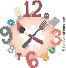 Junk Art Time Illustration - Illustration of a Clock Made...
