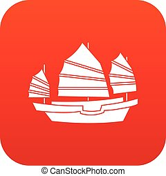 Junk boat icon digital red