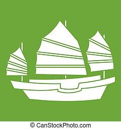 Junk boat icon green