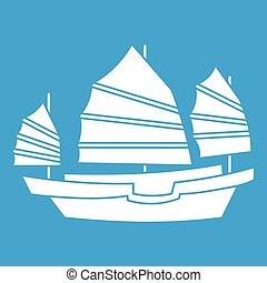 Junk boat icon white