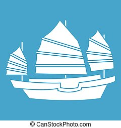 Junk boat icon white