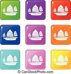 Junk boat icons 9 set