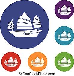 Junk boat icons set