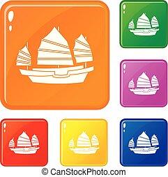 Junk boat icons set vector color