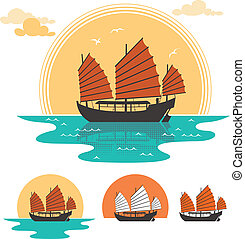 Illustration of junk boat at sunset. Below are 3 additional simplified variations. No transparency and gradients used.