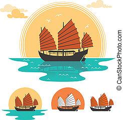 Junk Boat - Illustration of junk boat at sunset. Below are 3...