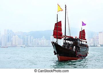 junk boat in Hong kong at day