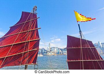Junk boat in Hong Kong at Victoria Harbor