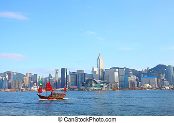 Junk boat in Hong Kong at Victoria Harbour