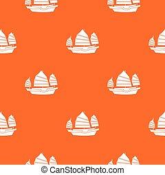 Junk boat pattern seamless
