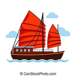 Junk boat with red sail.