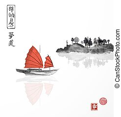 Junk boat with red sails and island with trees on white...