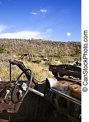 Junk car in field.