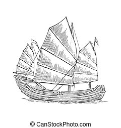 Junk floating on the sea waves. Hand drawn design element sailing ship. Vintage vector engraving illustration for poster, label, postmark.