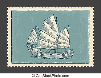 Junk floating on the sea waves. Hand drawn design element sailing ship. Vintage vector engraving illustration for poster, label, postmark. Isolated on blue background.