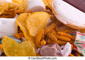 Junk Food - A background of chips, candy, cookies and more
