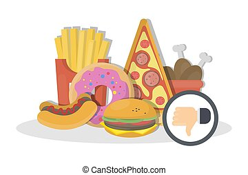 Junk food dislike. - Junk food dislike on white. Fries and...